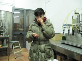 オリーブ工場でテイスティング